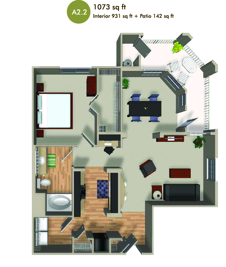 1073 square foot floorplan