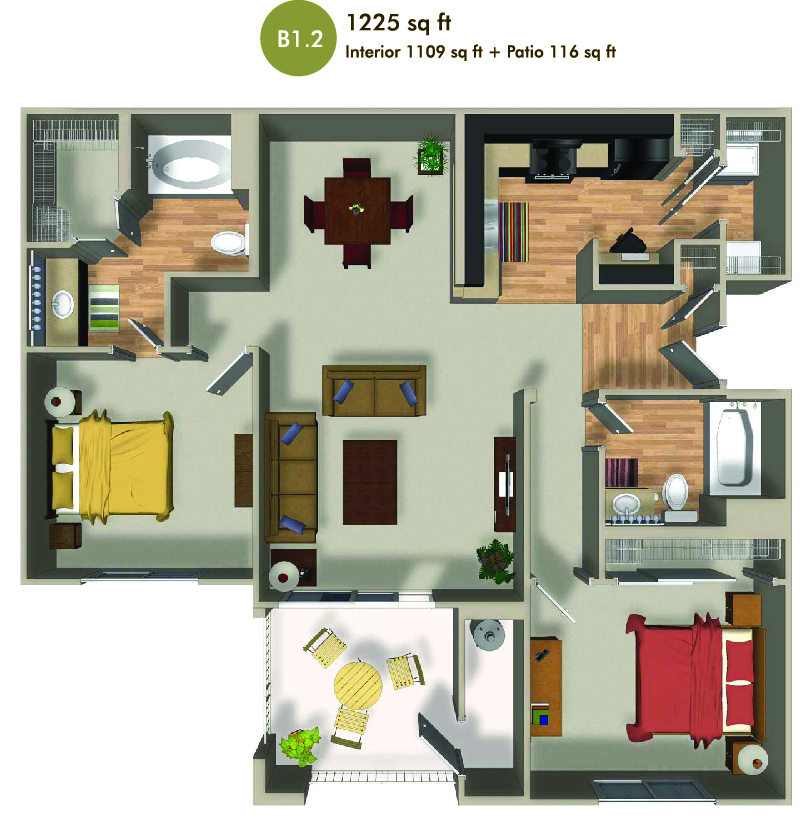 1225 square foot floorplan