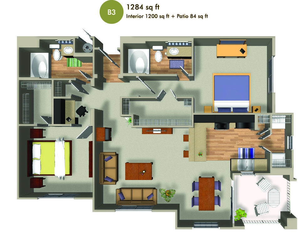 1284 square foot floorplan