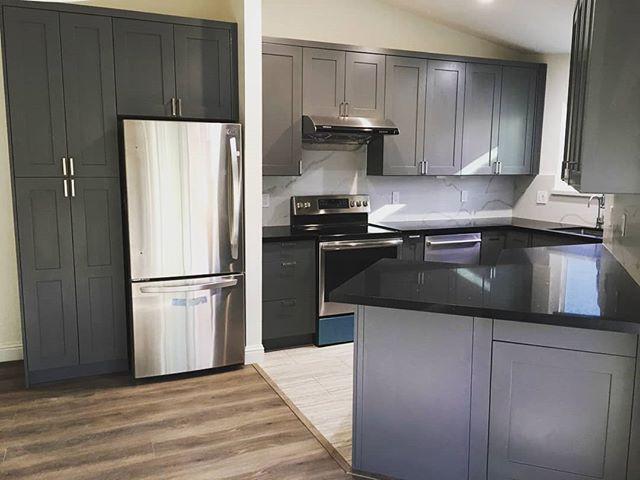 Full Kitchen Remodel  #greycabinets #darkcountertop #kitchenremodel