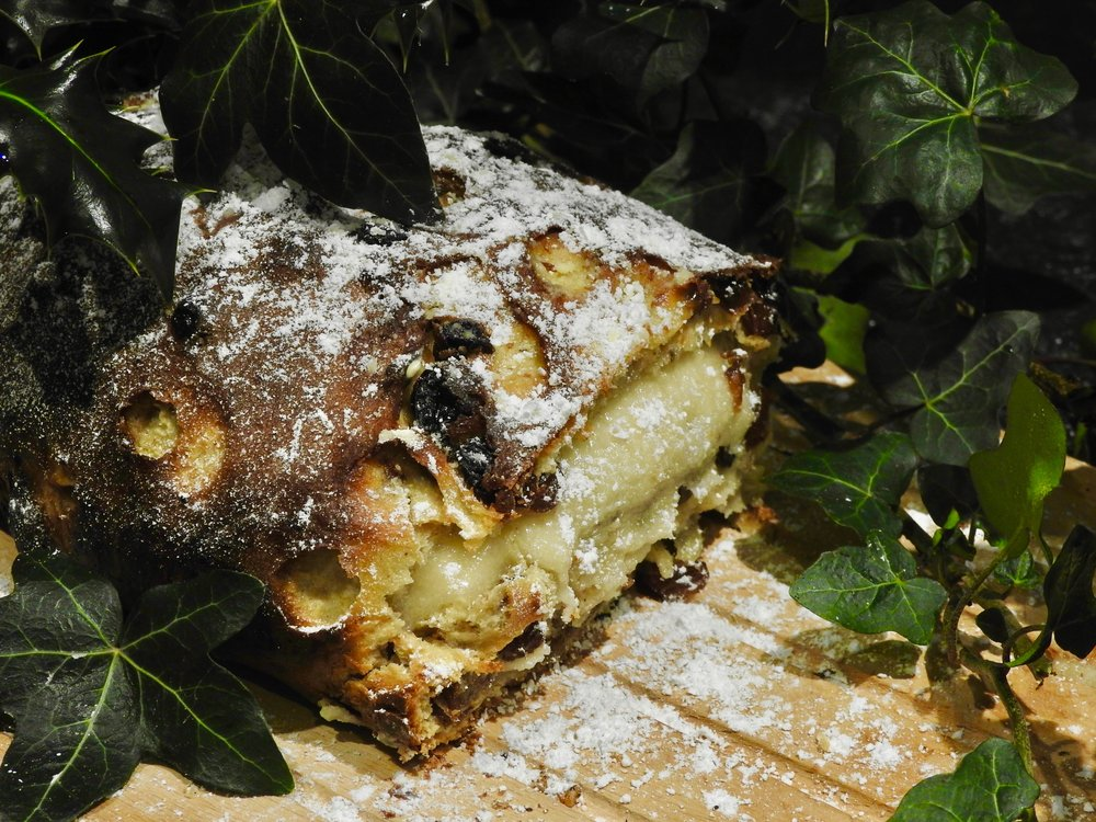 Baked stollen with oozing marzipan middle!