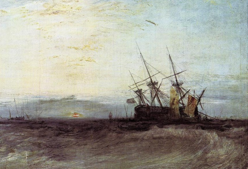 A Ship Aground, Yarmouth  - J M W Turner