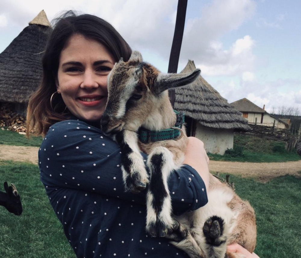 With the goats at my last job as Creative Developer at Butser Ancient Farm