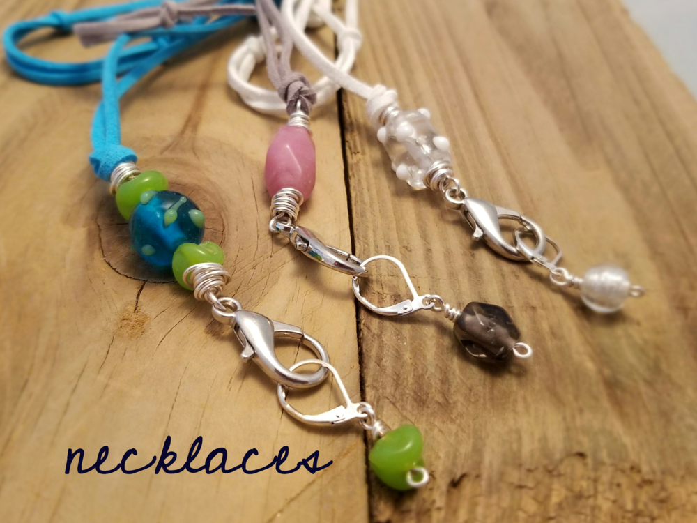 necklaces stitch marker holder snag free glass beads