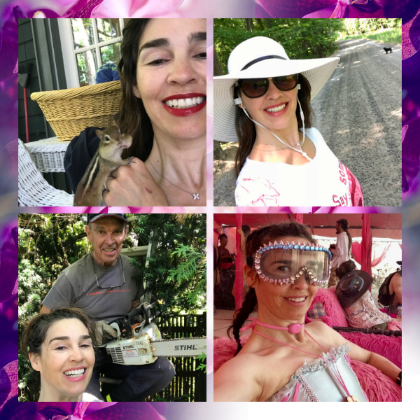 Pictured Clockwise: Making a woodland friend on Canada Day wearing Fly Girl LipSense;Walking Zoe and listening to my podcasts wearing Dark Pink LipSense; Visiting Pink Heart at Burning Man last summer; Chopping a tree down in our back yard with my Dad wearing Aussie Rose LipSense.