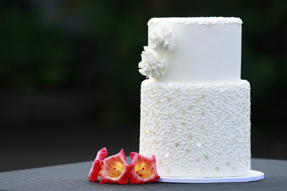 White Sequin Rolled Fondant Wedding Cake Hilo Hawaii