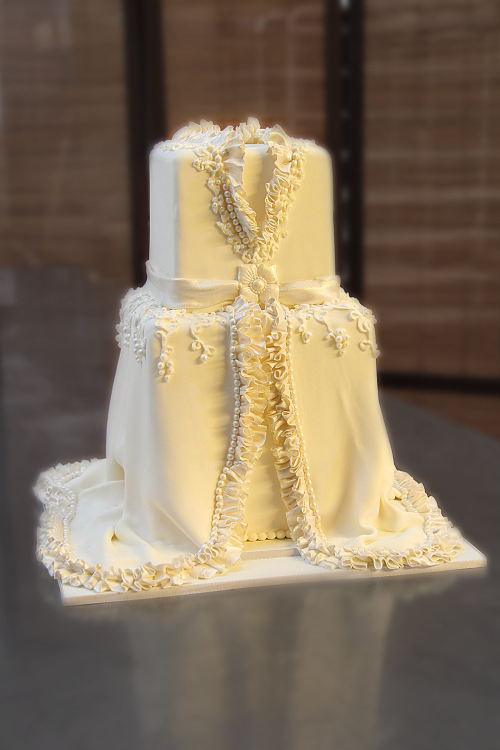 Copy of two tier square wedding dress wedding cake with sugar ruffles and pearls Hilo Hawaii Big Island Kailua-Kona