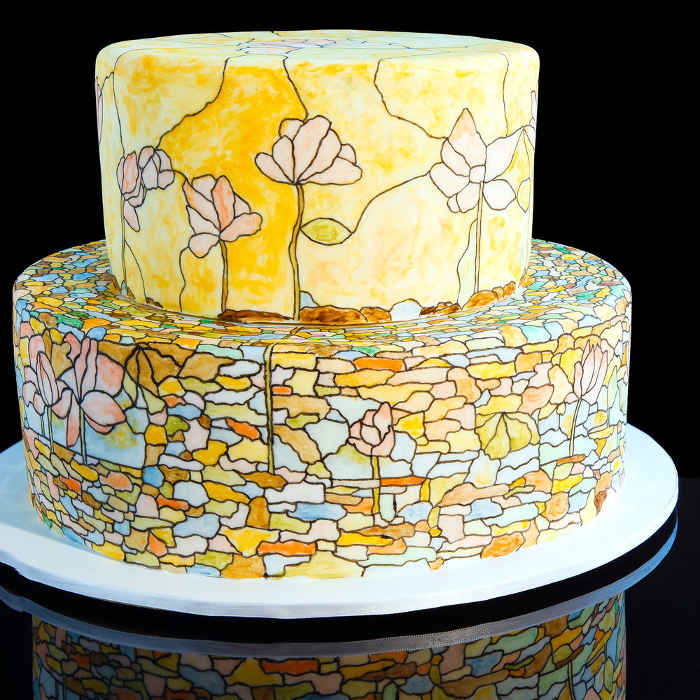 two tier round hand painted rolled fondant stained glass wedding cake