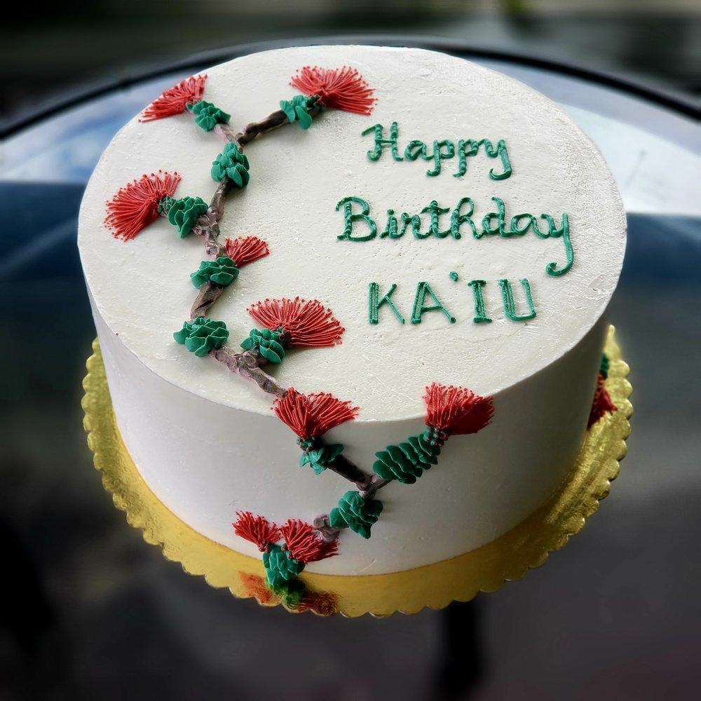 buttercream birthday cake with piped ohia and lehua Hilo Hawaii Big Island Kailua-Kona