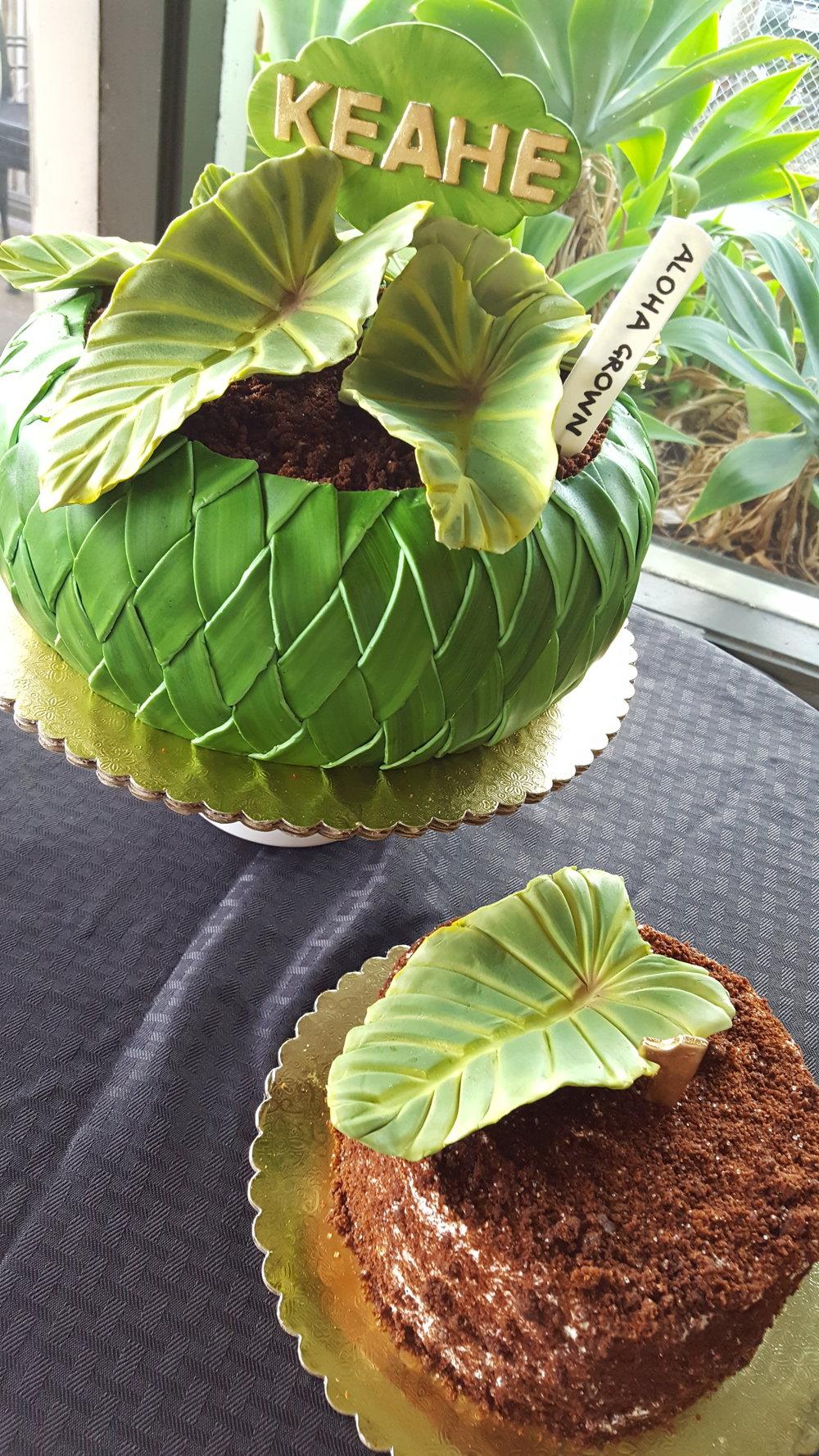sculpted woven rolled fondant basket birthday cake with sugar taro (kalo) Hilo Hawaii Big Island Kailua-Kona