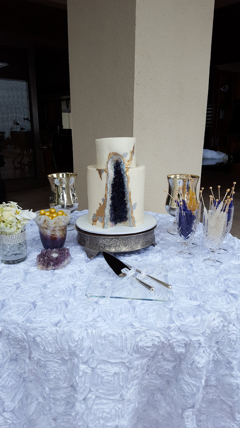 Two tier rolled fondant geode wedding cake Hilo Big Island Kailua Kona