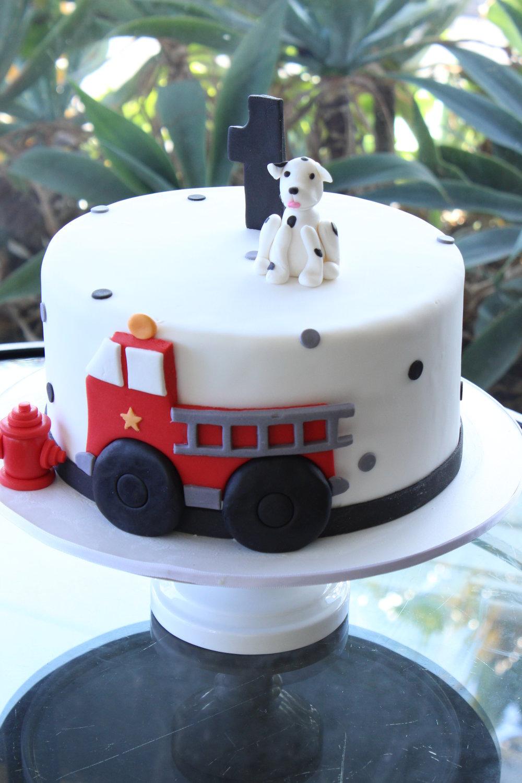 single tier rolled fondant first birthday cake firefighter theme Hilo Hawaii Big Island Kailua Kona