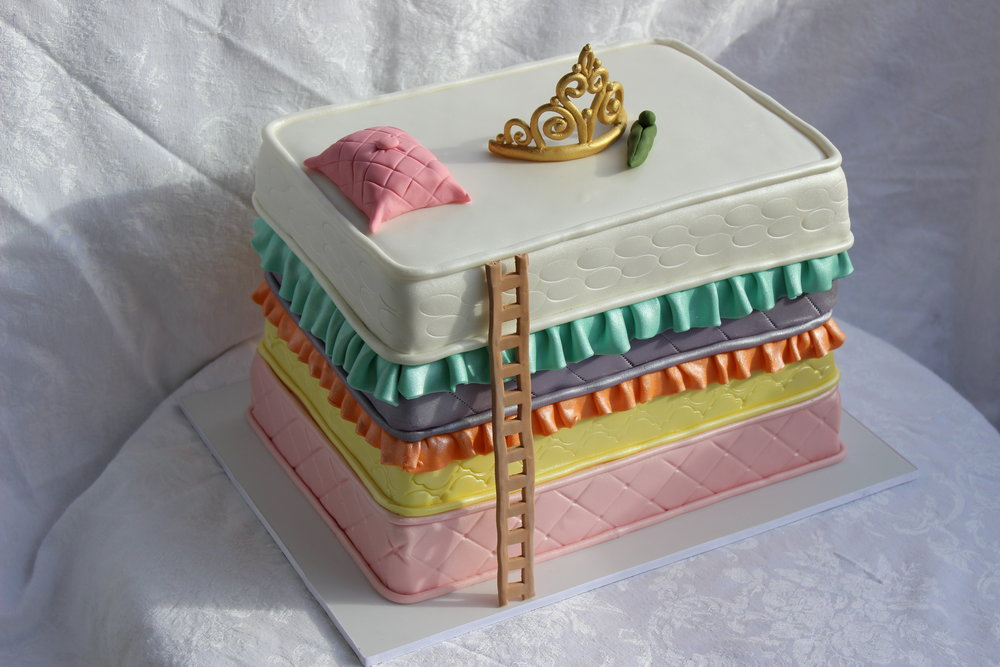 "Copy of Sculpted rolled fondant ""princess and the pea"" Hilo Hawaii Big Island birthday cake"