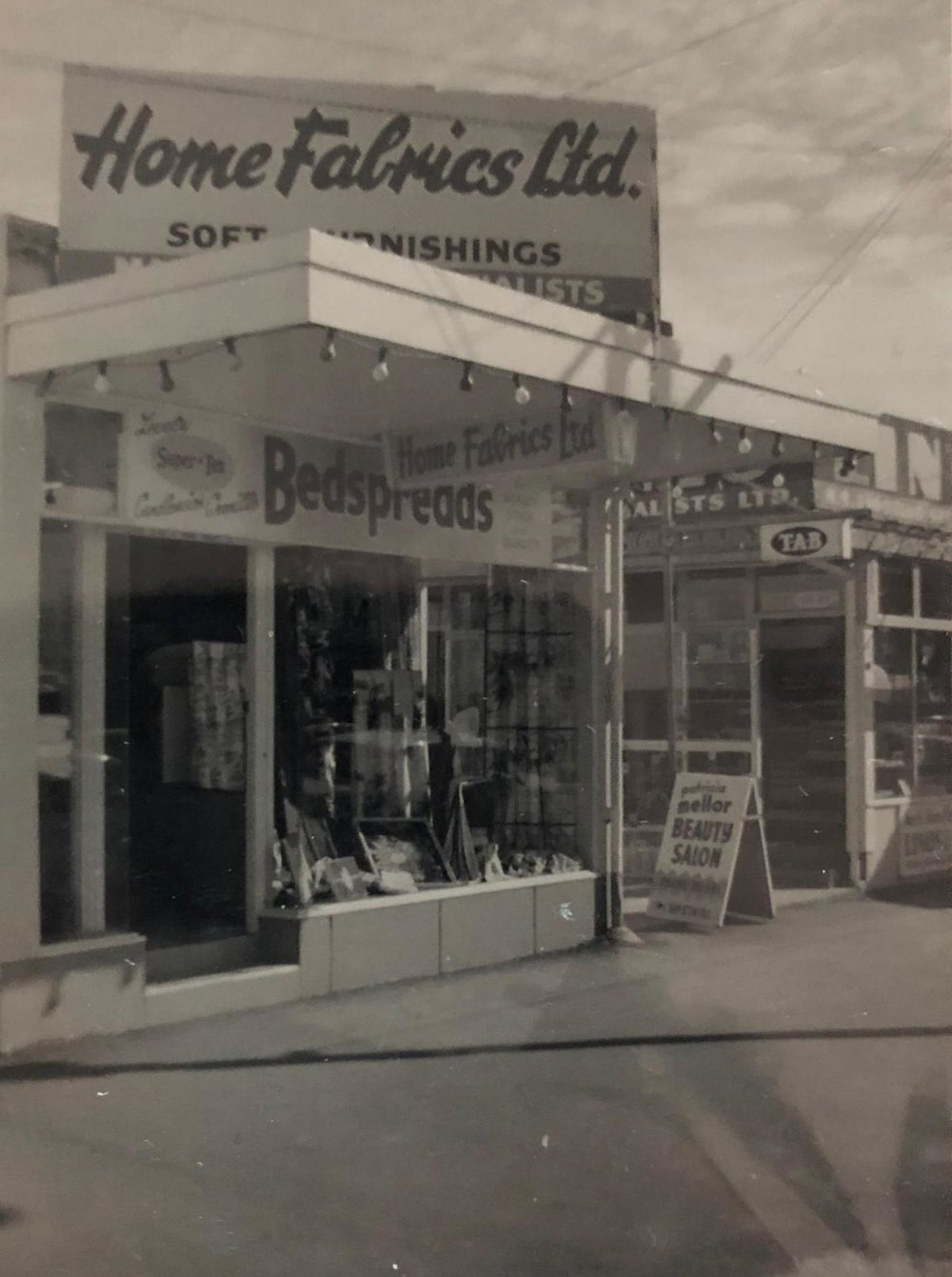 The original Home Fabrics store at 42 Hurstmere Road.