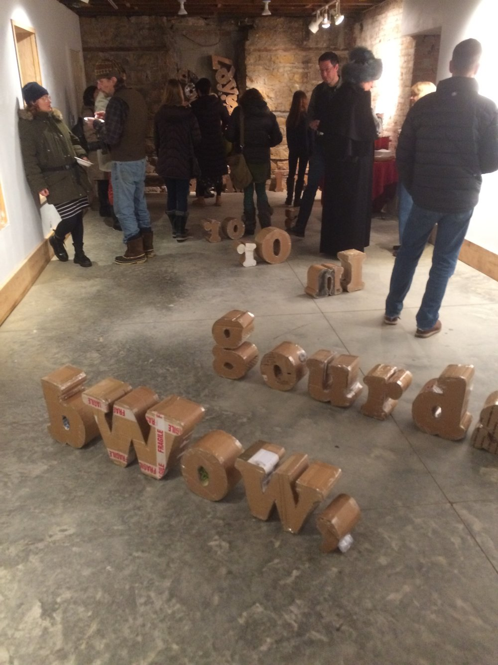 Opening reception for  Our Words In/Out.  RACA Gallery, 02-09-2019.