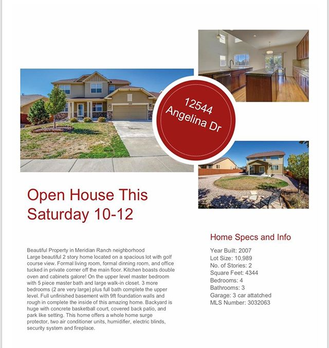 Open house tomorrow 10-12! Come check out this beauty in the Meridian Ranch neighbourhood! • • • • • • • • #coloradosprings #coloradospringsliving #coloradoliving #coloradospringslife #coloradosprings #coloradospringsco #csco  #coloradolifestyle #downtowncoloradosprings #my_cosprings #openhouse #openhousecolorado