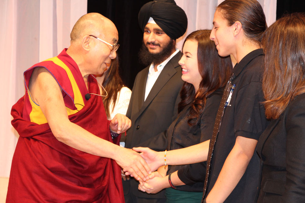 Dalai lama visit 2015 - His Holiness, the Dalai Lama visits John Oliver School and meets students from Take a Hike's Vancouver program.