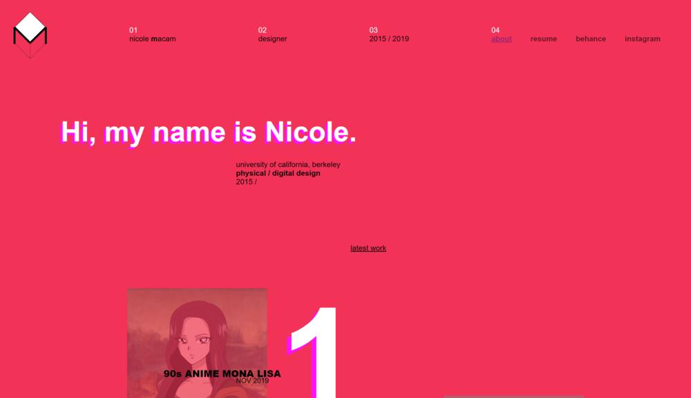 Screenshot of landing page by Nicole Macam.