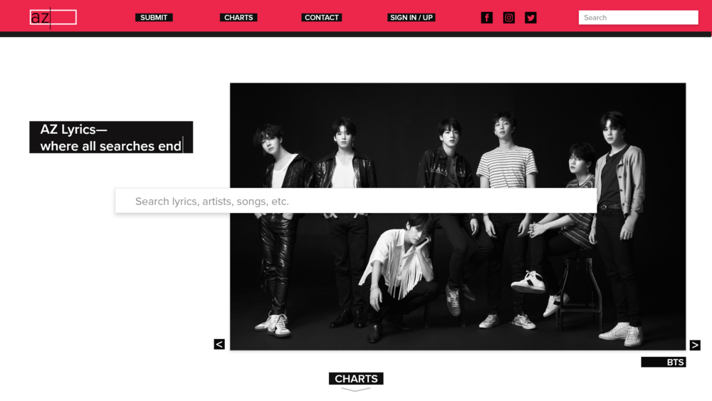 Redesigned landing page—major search bar in the middle with artist highlights behind it.