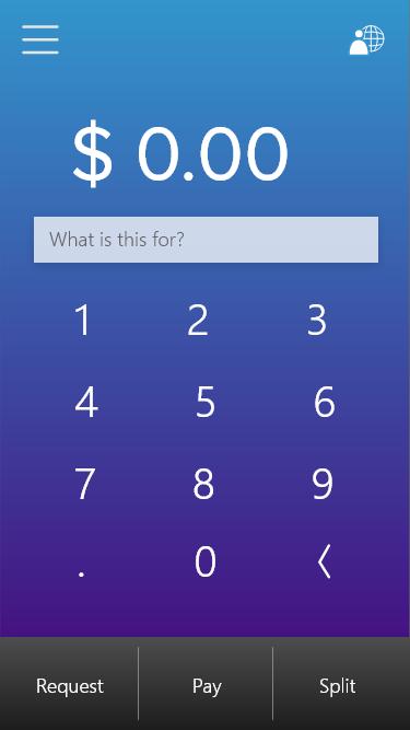 Keypad home page upon startup.