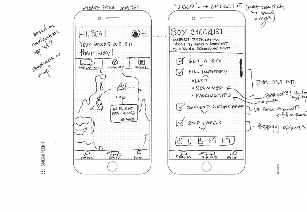 Low fidelity sketches—tracking shipment and step-by-step shipping instructions