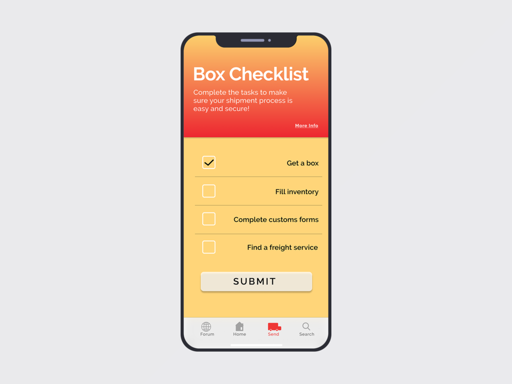 Step-by-step checklist to help users carry out shipping process.
