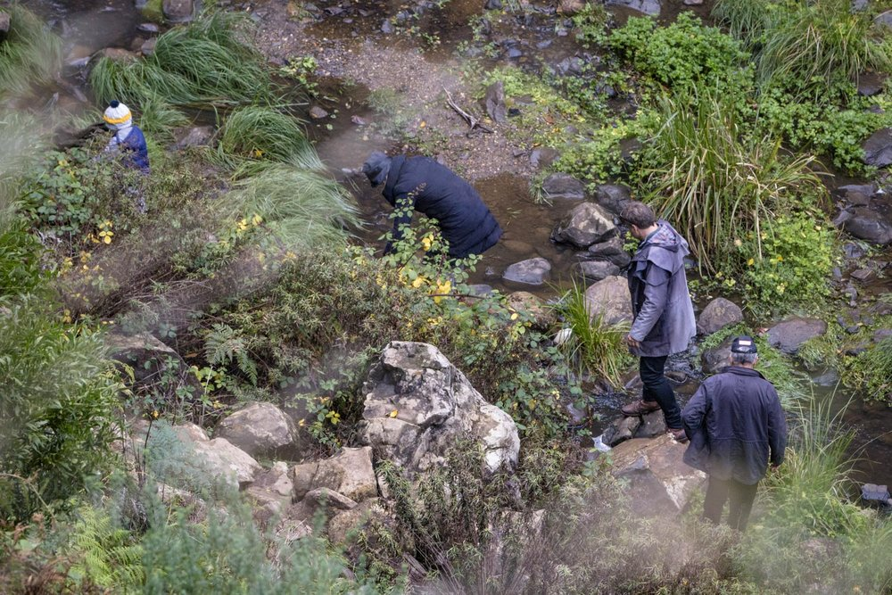 Visitors scrambling along one of the paths now marked close to the rivers edge.