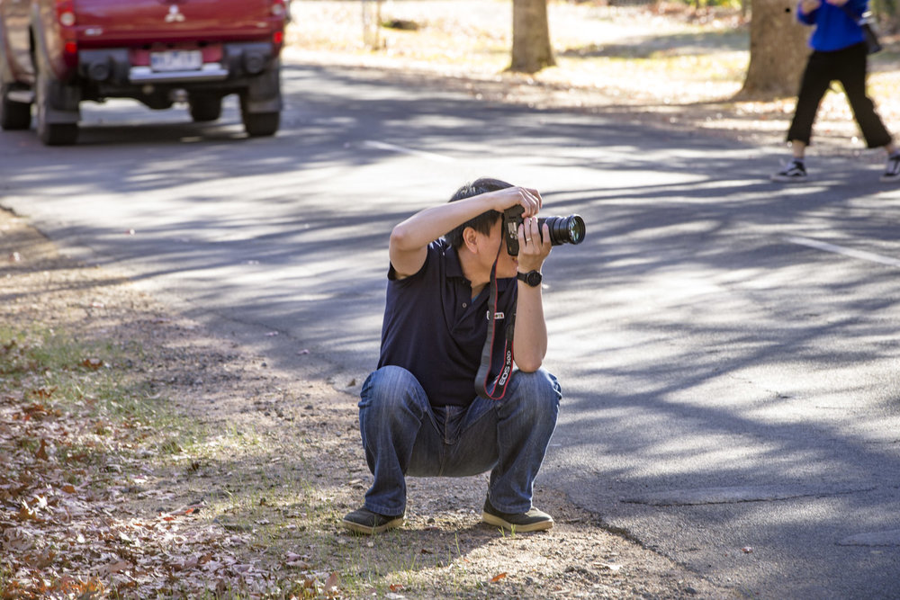 A photographer squats on the roads edge taking images of another on the road, focused on the image, forcing cars to move around him.