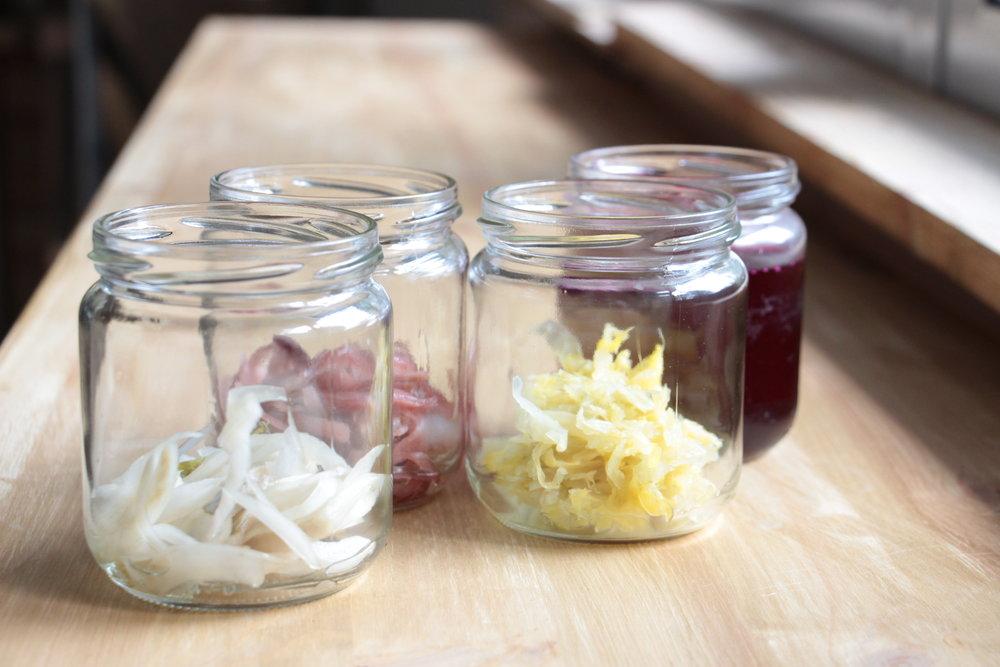 Hinojo encurtido, cebolla morada fermentada lácticamente, chucrut, kvass de remolacha. Productos realizados por KamideDeus