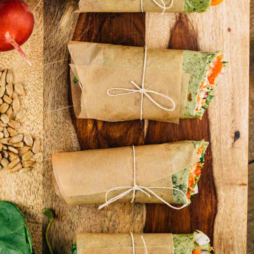 Hummus & Pea Shoot Mini Wraps -