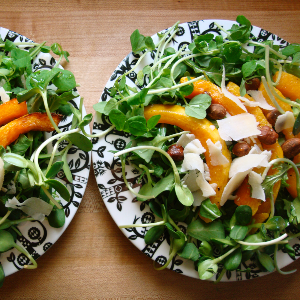 Pea, Sunflower & Roasted Squash Salad -