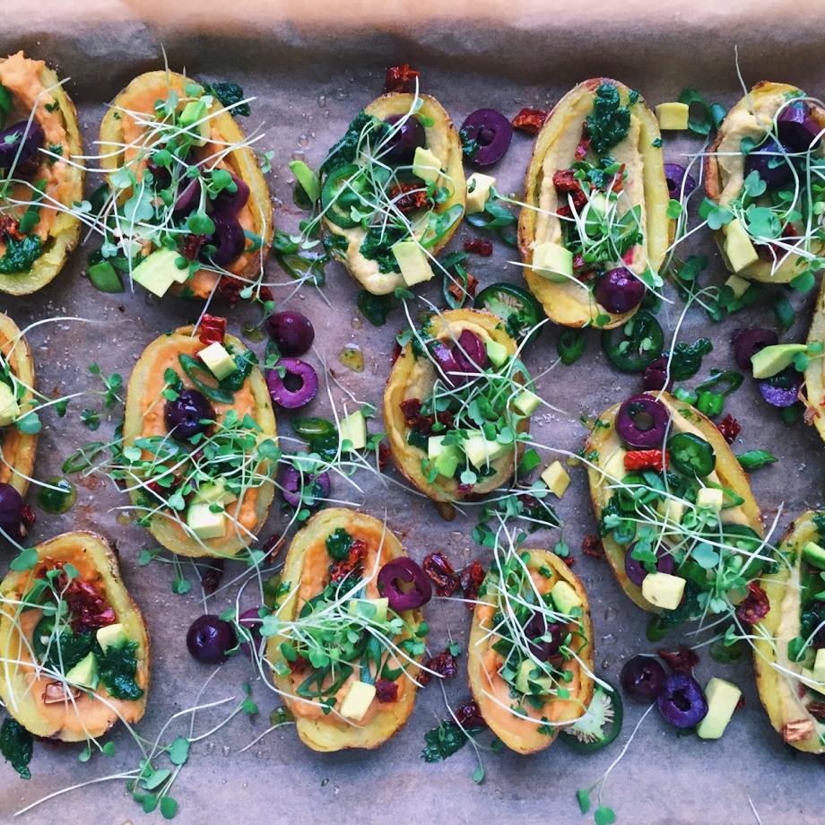 Gourmet Hummus Potato Skins -