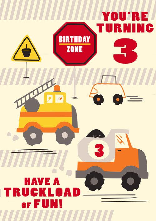 3rd Birthday Card Truck