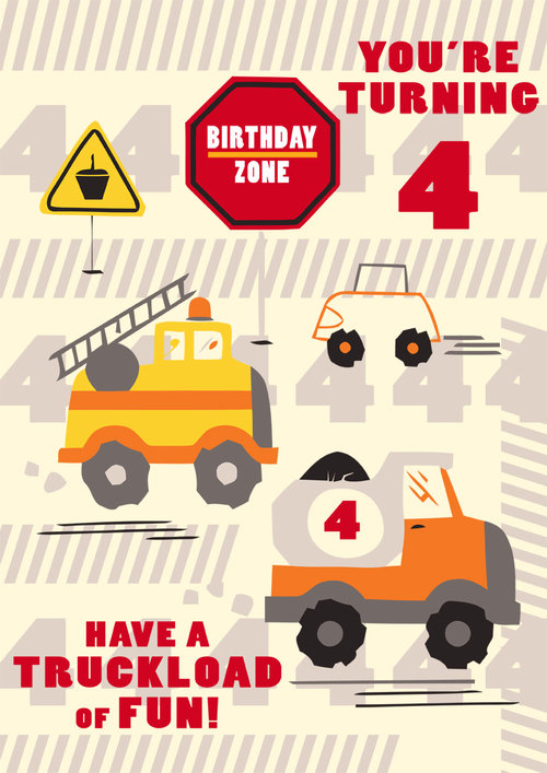 4th Birthday Card Boys Truck