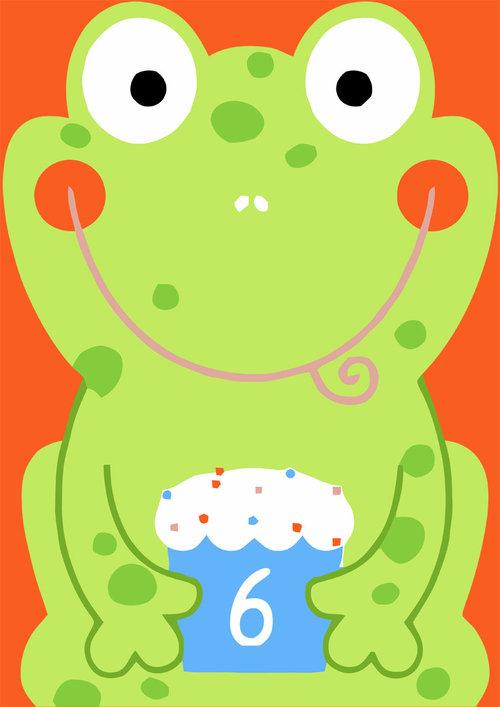 6th Birthday Card Boys Frog
