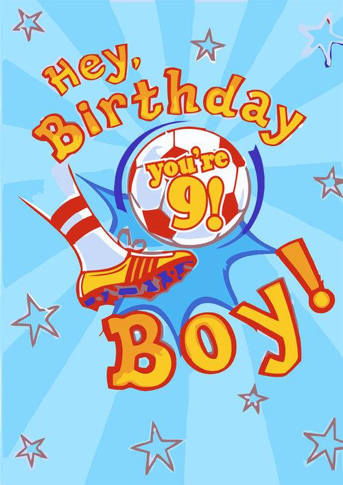 9th Birthday Card Boy Soccer