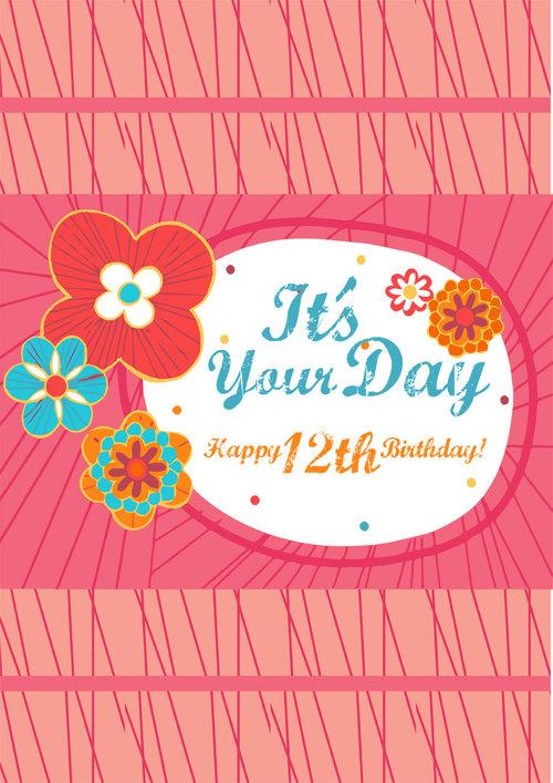 12th Birthday Card Girls Pink Flowers