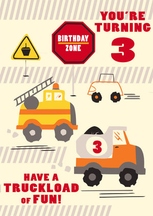 3rd Birthday Card Truck