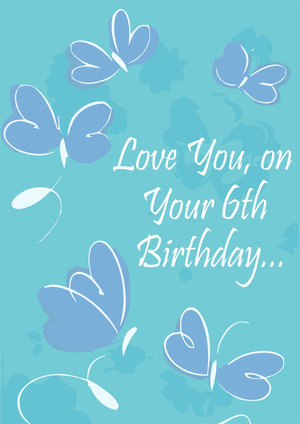 6th Birthday Card Butterfly