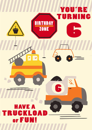 6th Birthday Card Truck
