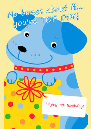 7th Birthday Card Dog Girls