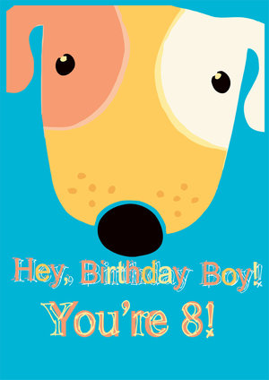 8th Birthday Card Cute Dog