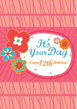 12th Birthday Card Girls