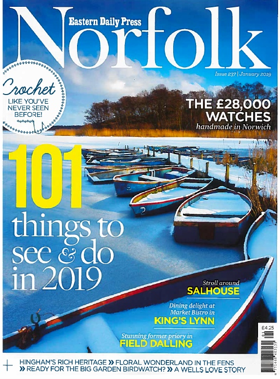EDP Norfolk Magazine - January 2019   Cover story - 'Stunning former priory in Field Dalling' and five pages inside entitled 'Perfect Priory'.