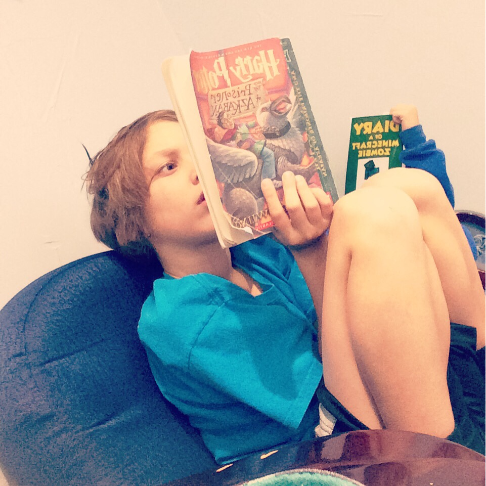 My little reader. He is so much like me. Loves to read and devours series! I love that we have this shared interest!