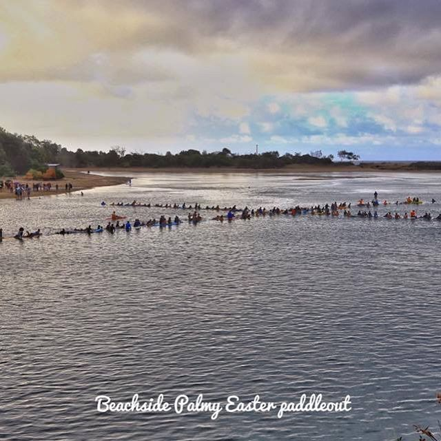 Good Friday paddle out for #Jesus and beach communion hosted by Beachside Christian Church in Australia.  God is being glorified in surf churches around the world!  #Easter #surfchurchcollective #everysurfer
