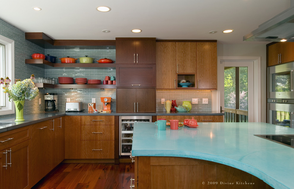 contemporary kitchen with turquoise tile