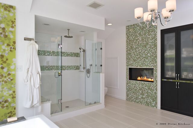 add color to your bathroom - master bathroom fireplace