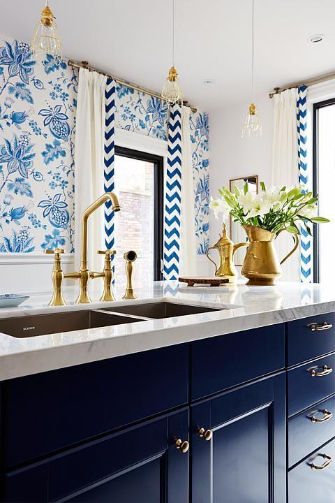 blue and white kitchen - sarah richardson design