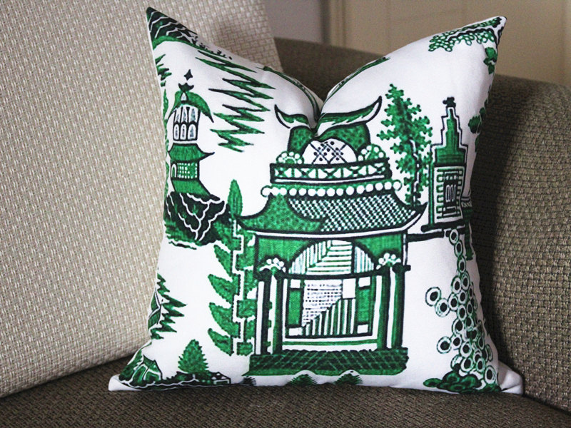 A pillow from Etsy in Schumacher's popular Pagoda print.